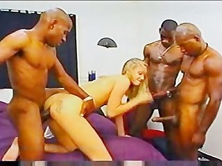 Filthy cheerleader hammered by three monster black dongs