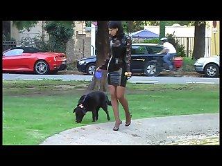 Ein schwarzes latexkleid draussen tragen ihr scheiss transvestitenschweine