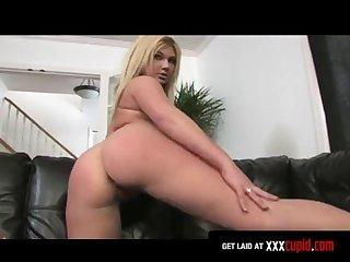 Busty blonde fucks a dildo