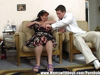 Mature lady rewards boy for cleaning