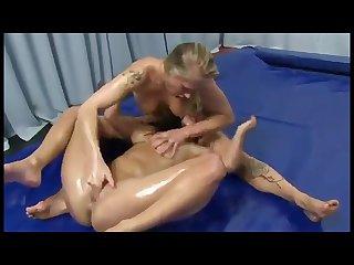 Horny oil trib wrestling