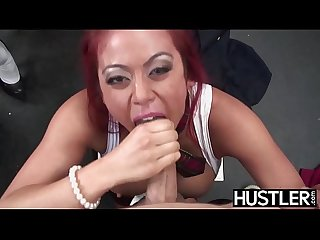 Asian redhead Mia Lelani fingers ass during cowgirl