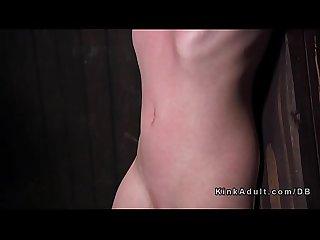 Babe in back arched device bondage