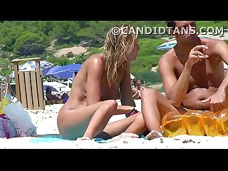 Blonde teen on the beach fully naked in public showing tight pussy!