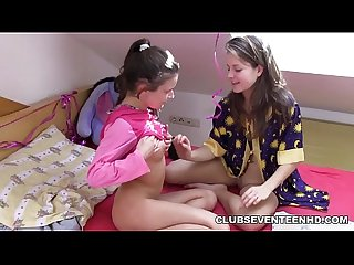 Very young teen lesbian playing with each other after school