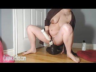 Gigantic BBC Dildo Ruins Her Pussy