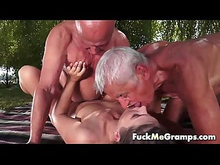 Teen fucks two old man in threesome