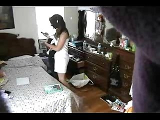 Enjoy my sister totally naked in her bed room hidden cam