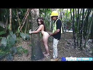 Brunette and a big ass jaye Austin gets banged during earth day