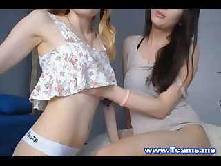 Pretty blonde gives her tranny bff some lovin