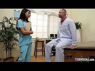Latina nurse shemale anal fucks a crazy patients ass