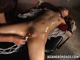 Ravishing japanese brunette enjoys smutty bondage sex