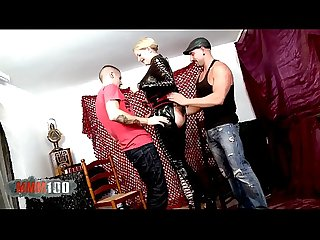 Big leather lady for two horny guys in the aftertnoon period