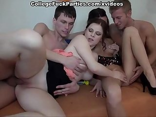 Students orgy double penetration