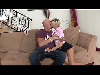Bald guy removes skinny cutie emma mae s sexy skirt and rails her in living room