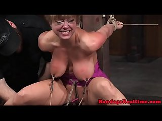 Busty nipple clamped sub mercilessly punished