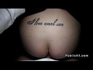 Tattoo babe fucks outdoor pov