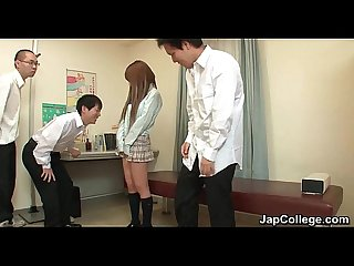 Japanese schoolgirl sucks dick at office