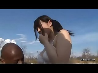 Japanese cute teen Girl blowjob black man