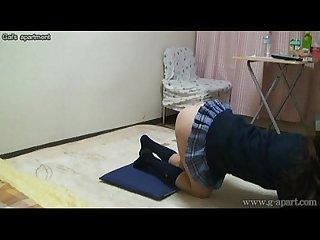 Peeping japanese schoolgirl madoka S school uniform exercise in her apartment