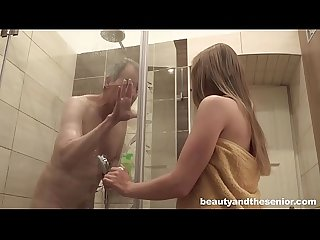Horny niece finds her uncle in the shower and fucks him hard